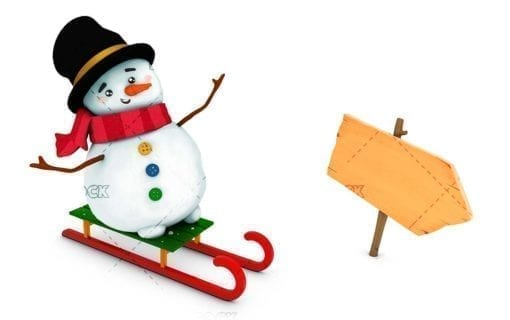 Snowman with sleigh