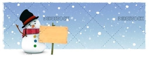 Snowman with snowing sign