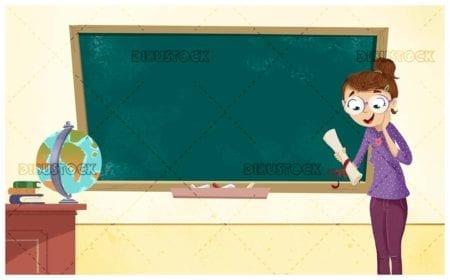 Teacher at school with blackboard