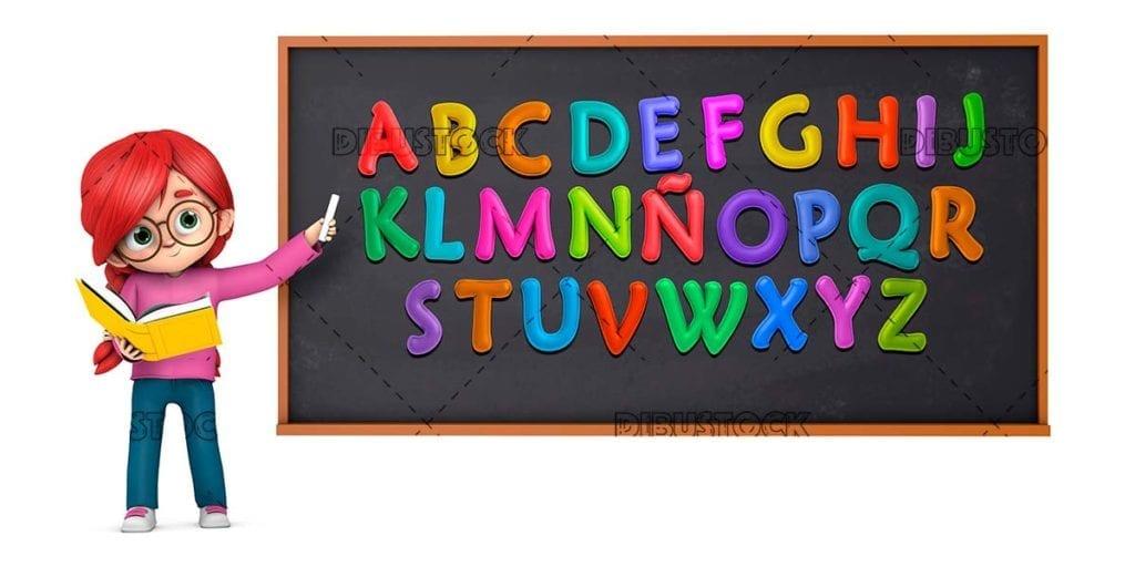 Teacher teaching the letters in class