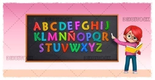 Teacher with colored letters and a book