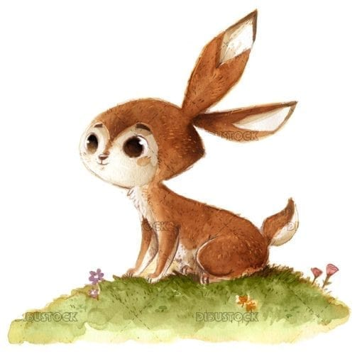 Watercolor field rabbit
