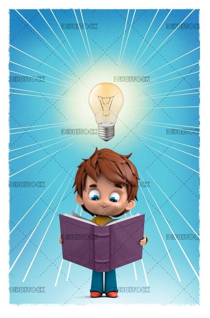 boy reading with light bulb