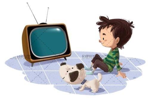 tele con niño y perro