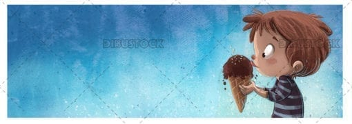 Boy eating an ice cream with textured background