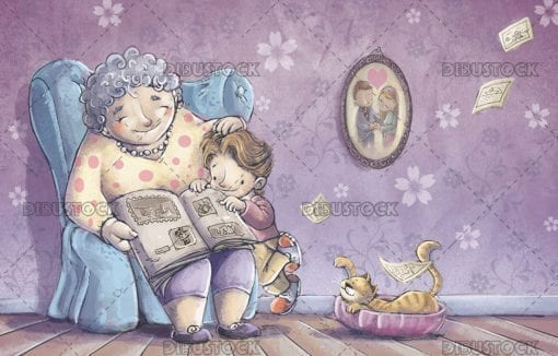 Grandmother reading a book to her grandson on the couch