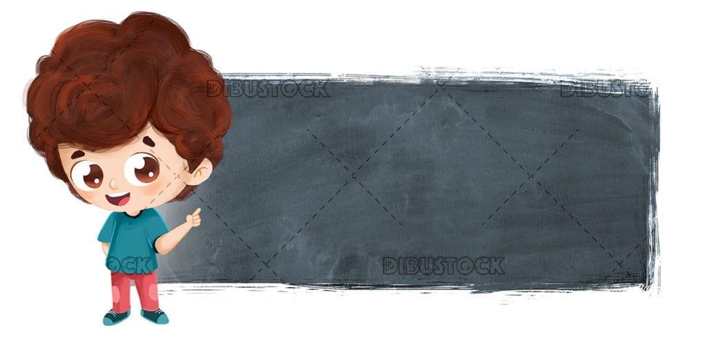 Boy pointing a blackboard