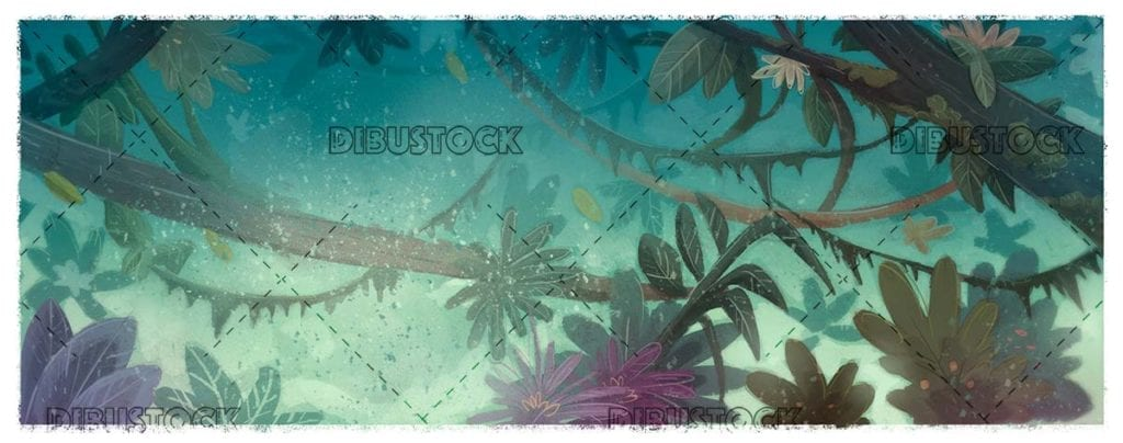 panoramic jungle background with lianas and trees