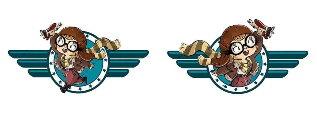 Aviator girl logo with toy plane