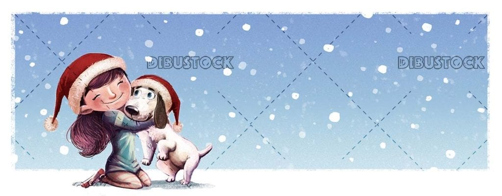 Little girl hugging her dog at Christmas with snowing blue background