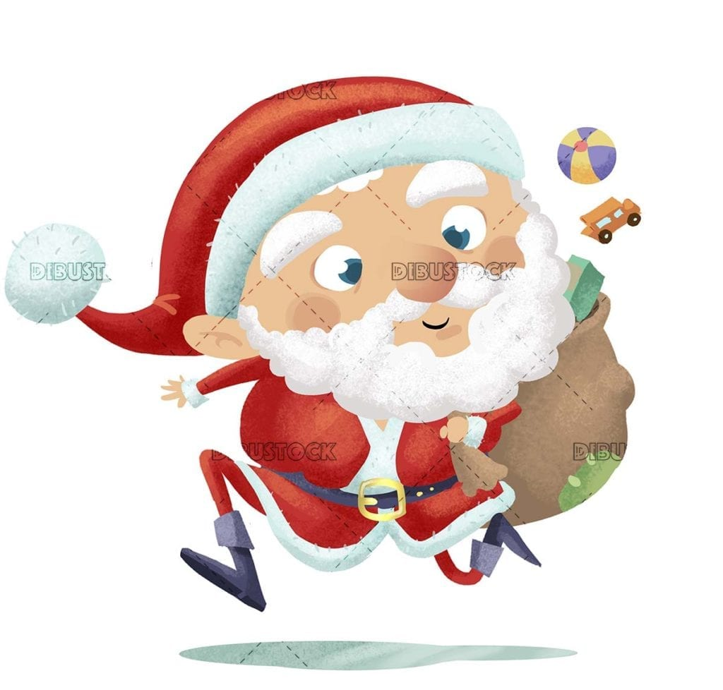 Santa Claus running while he drops his presents