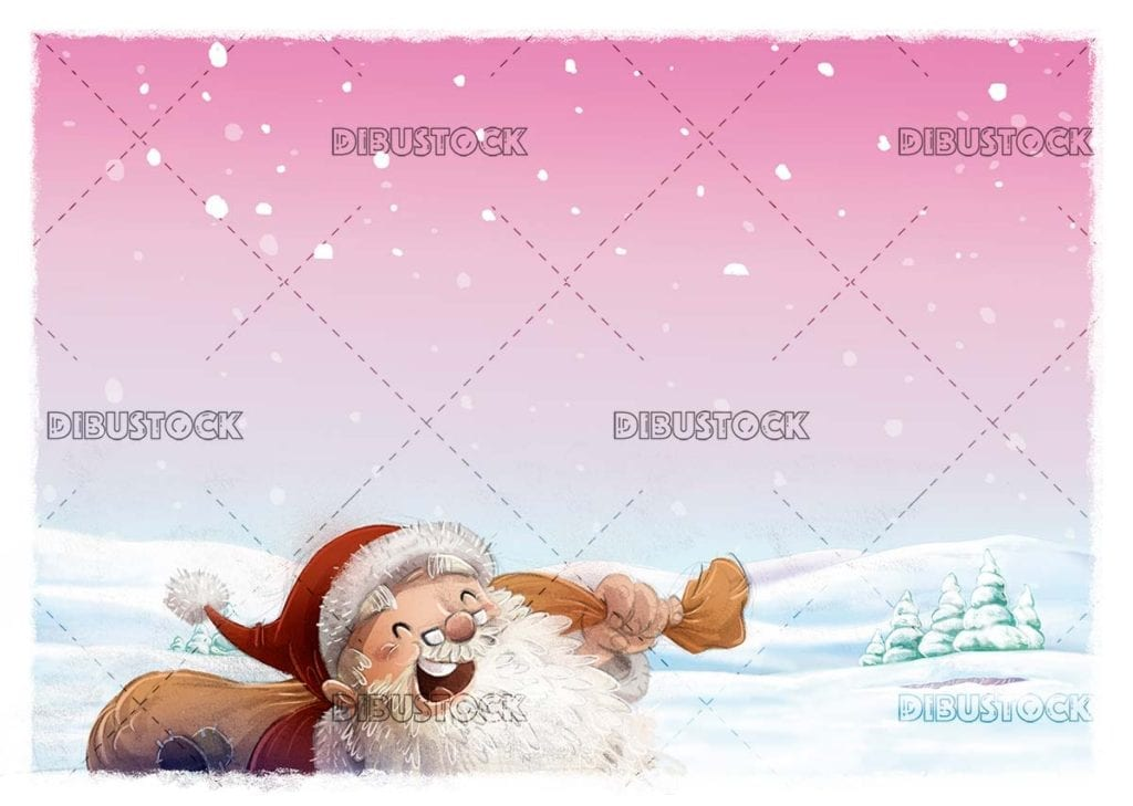 Santa Claus with sack and snowy pink background