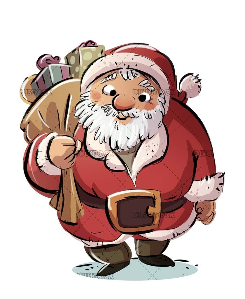 Santa Claus with sack of gifts and isolated background