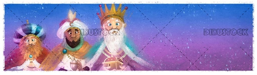 Three wise men at Christmas with texture background