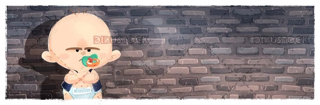 angry baby with pacifier on brick background