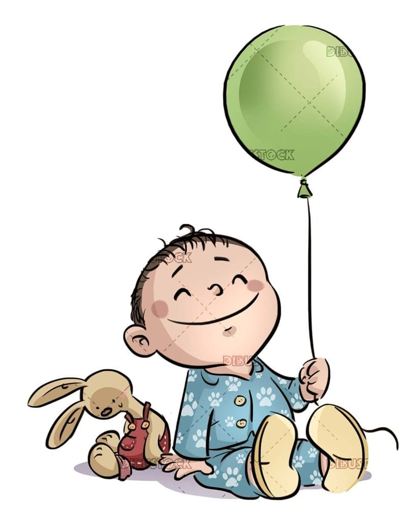baby in pajamas with balloon in hand