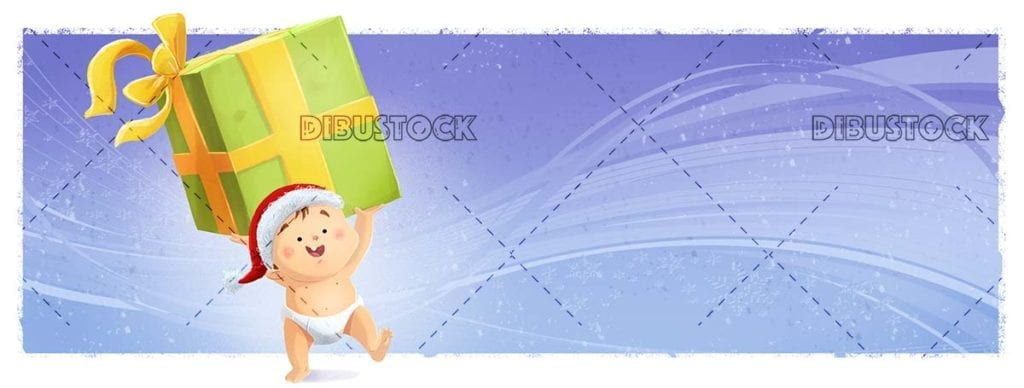 baby with christmas hat grabbing a giant gift
