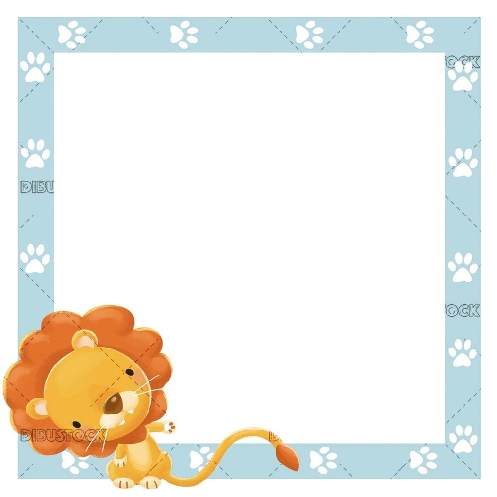 blue frame with lion