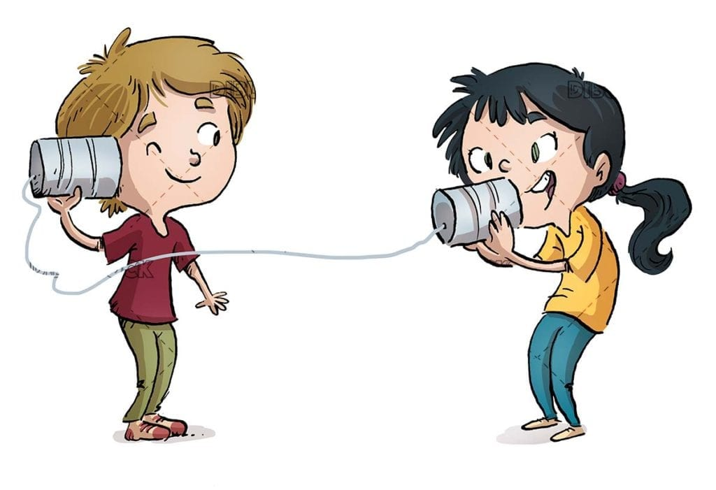 boy and girl talking to each other with baso and thread
