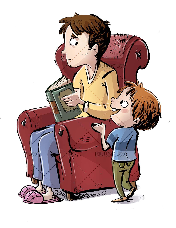 Niño preguntando a su padre que está en el sillón - Dibustock, Ilustraciones infantiles de Stock