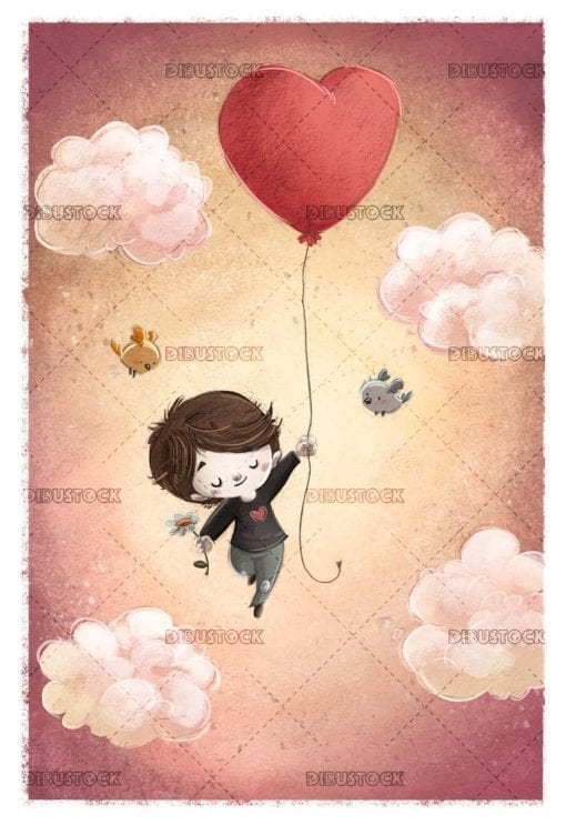 boy in love flying with a heart shaped balloon across the sky