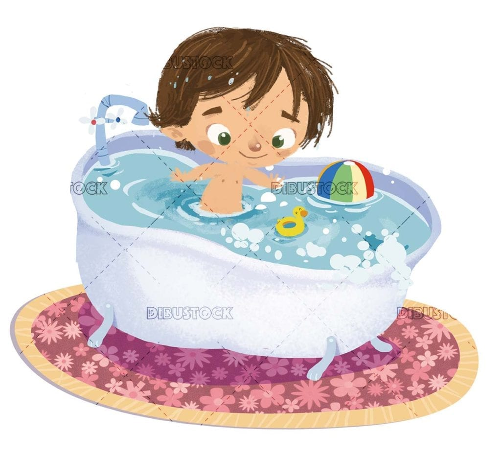 boy playing with toys in the bathtub