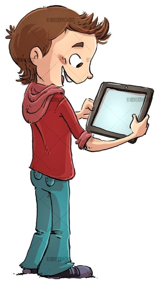 boy standing using a tablet