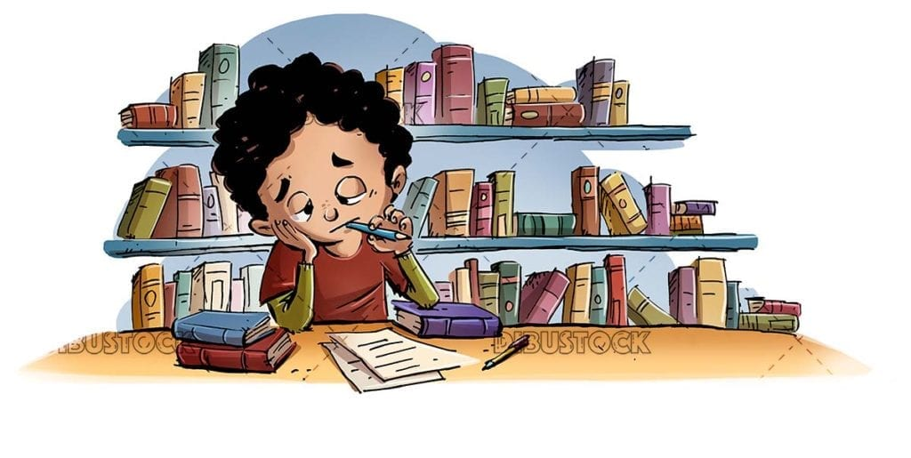 boy studying demotivated with books in isolated background