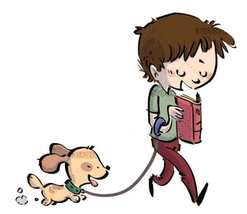 boy walking his dog while reading a book