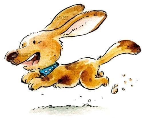 brown dog running in watercolor