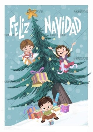 funny Christmas card with children gifts and Christmas tree
