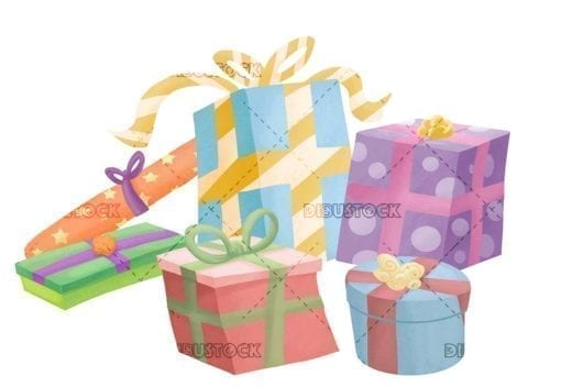 gifts of different colors and sizes on isolated background