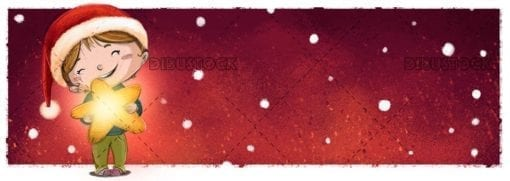 girl with christmas hat with star and red snowing background