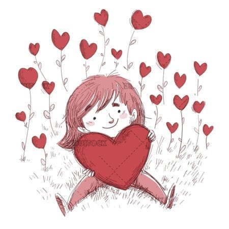 girl with giant heart in a field of hearts on white background