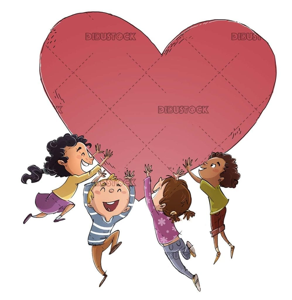 group of happy children playing with a heart