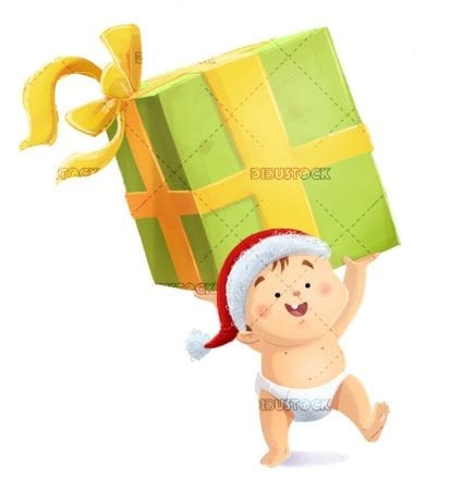 happy baby with christmas hat grabbing a giant gift