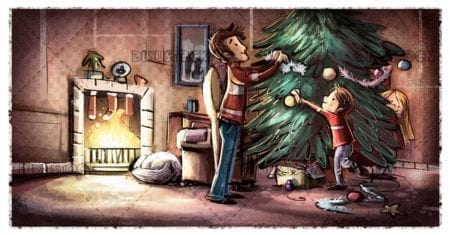 happy family decorating the christmas tree