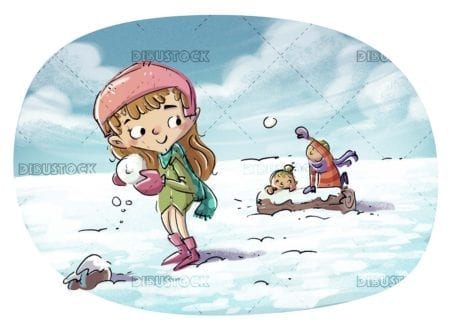 kids playing throwing snowball in winter