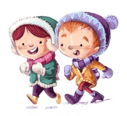 kids with winter clothes walking happy isolated