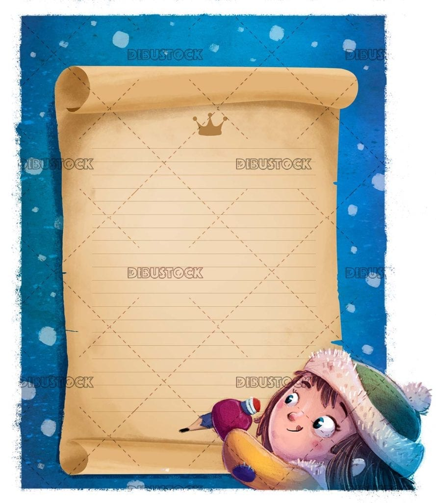 little girl writing a letter to the magic kings with snowing blue background