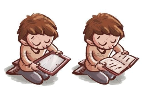 Boy with tablet. boy with book