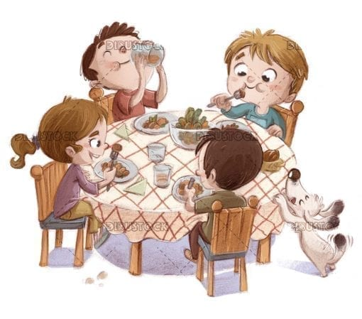 Funny scene of children eating at the table with the dog next door
