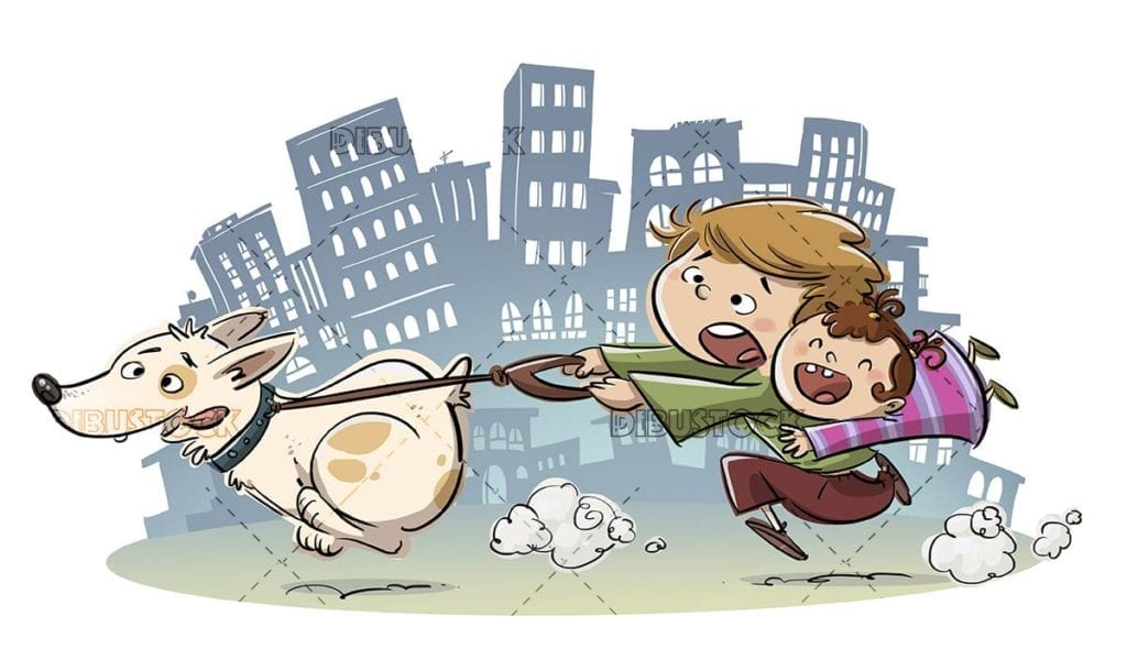Funny scene of children walking a dog through the city
