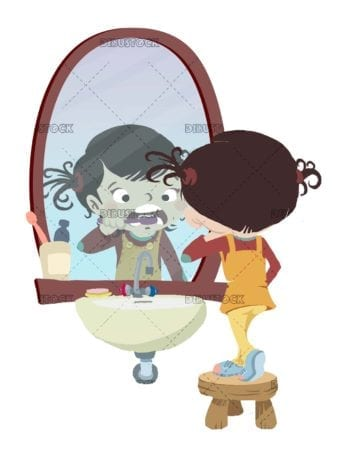 Girl brushing her teeth in front of the mirror on isolated background