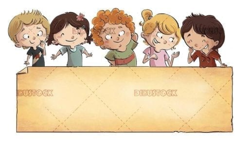 Group of happy children with poster below