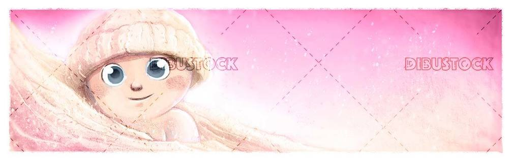 Happy baby with hat and blanket on pink background