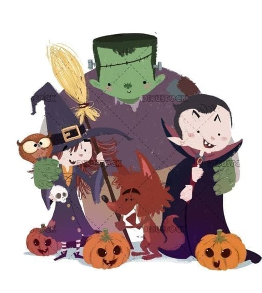 Kids monsters surrounded by pumpkins on Halloween isolated