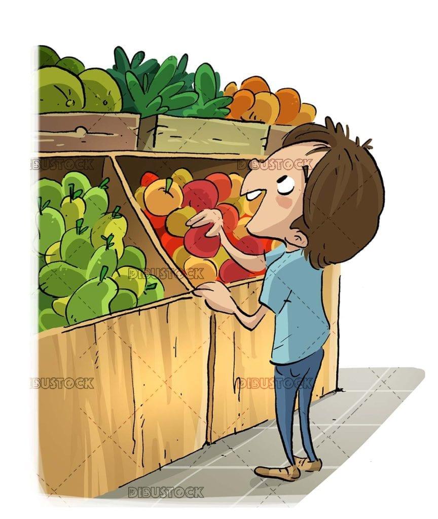 boy picking fruit in the fruit shop
