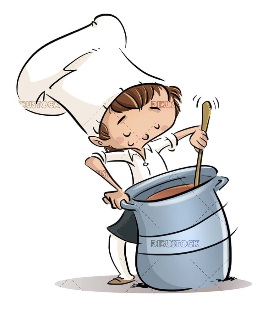 boy with a big pot cooking