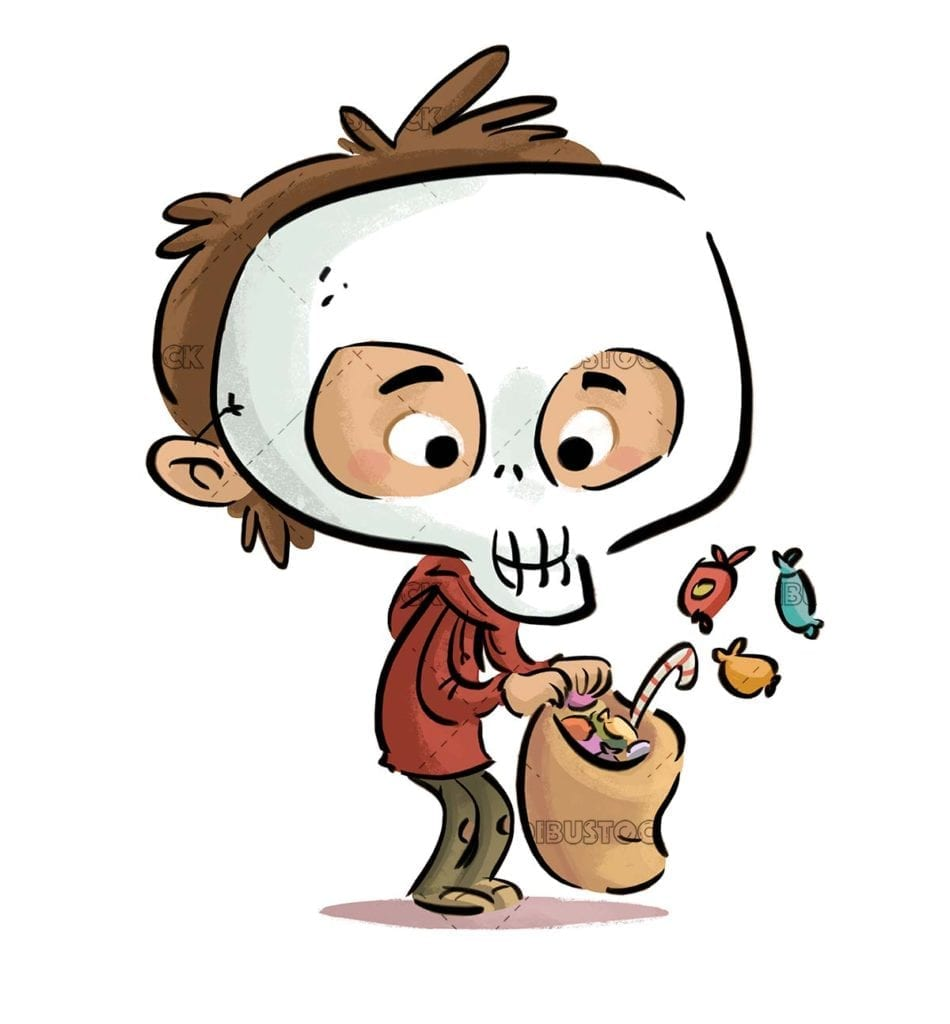 boy with skull costume